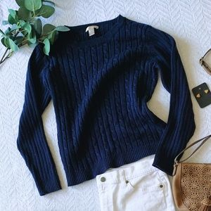 Navy Blue Cable Sweater